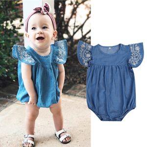 Toddler Baby Girls Infant vestiti Denim Pagliaccetti Tuta Outfit Tuta