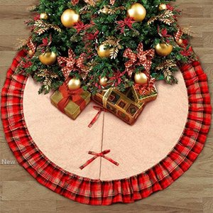 Christmas Tree Skirts Bowknot Patchwork Home Pad Red Lattices Linen Ornament Festival Supplies Decoration ZZA1115 12pcs