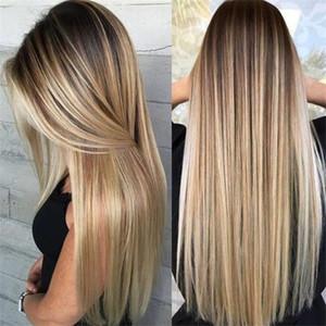Bayan Sarışın Peruk Ombre Uzun Kahverengi Altın Düz Siyah Sentetik Saç Peruk