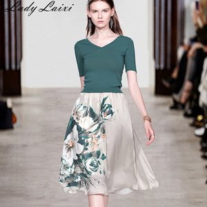 2020 Summer New Women elegant knit sweater green slim pullovers Top + A-line floral print skirts suit female two piece set T200702