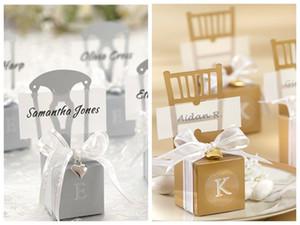 Свадебные украшения пользу коробки из серебра и золота стул пользу коробки с сердцем шарм и ленты 120 шт. / лот для партии подарочная коробка конфеты сувениры