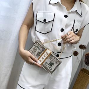 Nueva pila de cristales Cash Money Mujeres embrague noche bolsas de diamante de la boda cena monederos y bolsos de lujo de las mujeres bolsos de diseño