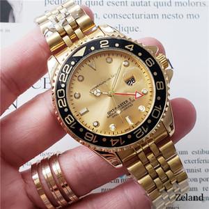 Le luxe haut maître marque hommes GMT HORLOGERIE 3A rose montre-bracelet en or mens 44mm calendrier quartz en acier inoxydable Glacé Montre en céramique