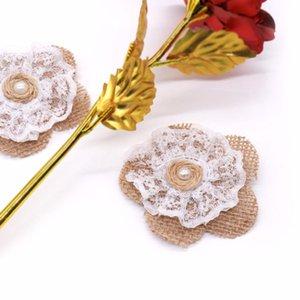 20pcs handgemachte Jute hessische Burlap mit Spitze Blume Rose Hut DIY Fertigkeit Rustic Hochzeitsdeko Vintage Weihnachtshochzeits-Dekoration