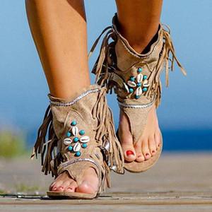 Рим Thong Гладиатор Flat Sandals Богемия лето Женщины Сандал Этнический стиль кисточки дамы Ботильоны Сандал обуви