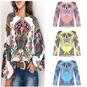 Mujeres camiseta de la manera del estilo bohemio de la blusa de la linterna del o-cuello camisas Tops causal suelta blusas suéter femenino Diseño Top Blusas Ropa