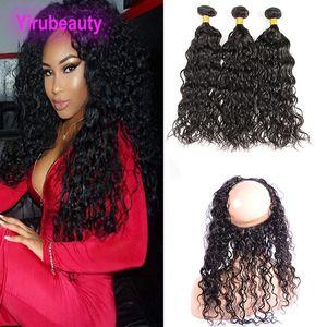 Onda de agua 3 paquetes con 360 cordones Frontal Free Free Brazilian Virgin Hair Extensions con cierre de encaje Frontal Color natural Mojado y ondulado