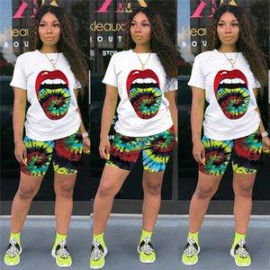 Women Two Piece Outfits Tie Dye Printed Sports Casual Pants Set Designer Lip Printing Short Sleeve T Shirt Shorts Set D52805