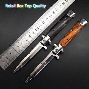 Supervivencia de la herramienta de defensa cuchillo plegable nueva alta calidad táctica mafia italiana estilete Horizontal Knive 3Cr13 de la manija de madera Auto Camping Caza