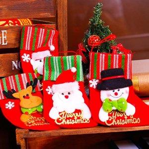 Santa Snowman Gift Holders Bolsa de almacenamiento Colgante Árbol de Navidad Decoración para el hogar Medias de Año Nuevo Calcetines Adorno Decoración de Navidad 62718
