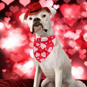 Pet Valentine's Day Pink Bandanas Cute Printing Dog Scarf Neckerchief Decorative Pet Collar Puppy Bibs For Party