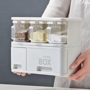 Box tempero de armazenamento de plástico Set Cozinha Organizador Rangement Cuisine empilhável condimento recipiente de armazenamento com gaveta