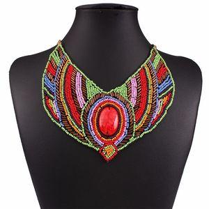Fashion Style ethnique Bohème Perles colorées False Collar Collier chaîne courte Clavicule