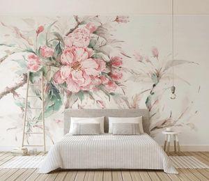Coutume Stereoscope fleurs de cerisier 3D Peinture murale Fond d'écran papier peint rose pour les filles salle de séjour mur papier peint chambre chambre 3d