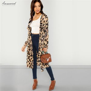Apricot Workwear Coat Elegant Open Front Shawl Collar Print Fashion Leopard Autumn Highstreet Women Coats Outerwear
