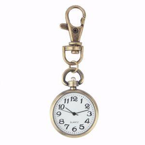 1pc Retro Bronz Kuvars Pocket Watch Hareketi Anahtarlık Anahtarlık İzle Cep Saatler Yuvarlak Relogio De Bolso Dial