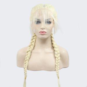 Trenza de seda de pelo Real trenza de pelo largo peluca de encaje frontal de fibra química capucha femenina resistentes a altas temperaturas de seda de alta temperatura
