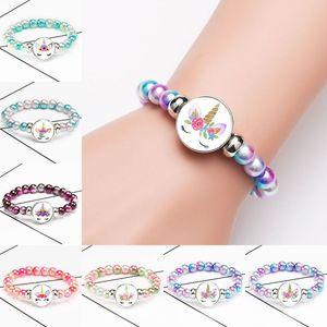 Cartoon Fräulein Einhorn Armband Einhorn Glascabochon Armband Chunks Knopf Kindergeburtstag Mode Schmuck Geschenk