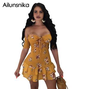 Ailunsnika 2018 d'été Femmes sexy à lacets shirt Haut et court taille élastique Hem Volants Floarl Imprimer Mini robe Deux costumes MN8274