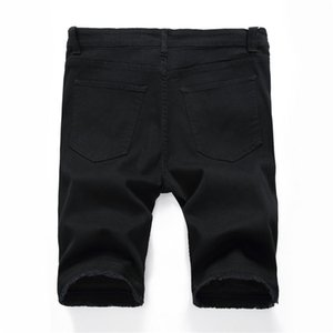Jean pantaloncini estivi ginocchio dritto progettista di lunghezza regolari Shorts Mens Stretch Fori Mens