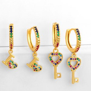 New Bohemia Rainbow Crystal Love Heart CZ Drop Earrings for Women Evil Eye Multicolor Gold Key Shell Ear Cuff Bridal Jewelry