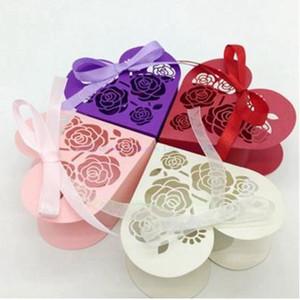 En forma de corazón Amor dulce fiesta de la boda del favor de las cajas hueco Rose caja del caramelo de chocolate regalos del sostenedor de la torta Bolsas rectángulo con la cinta