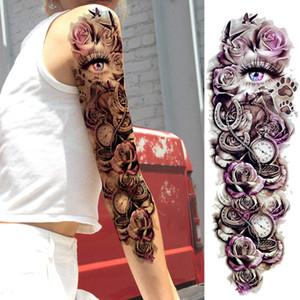Grande Arm manga impermeável tatuagem tatuagem temporária Etiqueta do anjo de Rosa do crânio Flor de lótus Homens completa Tatoo Art Corpo tatto menina