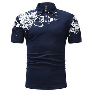 Men's Fashionable Recreational Printed Short-sleeved Bottom-lapel POLO Shirts