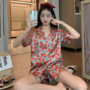 Bayanlar Buz İpek Çilek Baskılı Harf Kısa Kollu Pijama Kadınlar Casual Ev Açık Giyim İki parça Suit Ücretsiz Kargo