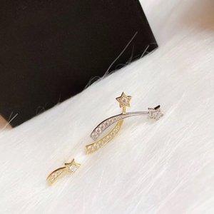 Marque pur 925 bijoux en argent sterling pour les femmes 2 Color Star Boucles d'oreilles étoiles Boucles d'oreilles Chance Conception Meteor de soirée de mariage Boucles d'oreilles