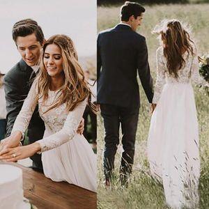 New Elegant Bohemian Lace Wedding Dresses With Long Sleeves Floor Length A Line Lace Appliques Chiffon Beach Bridal Gowns Vestido De Novia