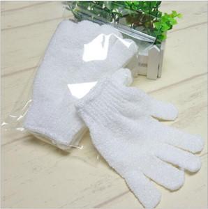 Ванна перчатки тела Очистка Душ перчатки Белый нейлон Exfoliating Ванна перчатки Пять пальцев Пэдди мягкого волокна массажная ванна перчатки очиститель DYP470