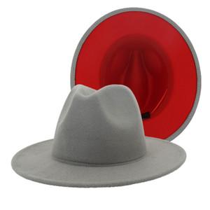 2020 Red remiendo de la manera sombrero de fieltro gris de las mujeres de los hombres de ala ancha de lana de imitación del jazz del sombrero de ala del sombrero flexible Panamá Cap tendencia Gambler Sombrero