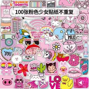 100 PC Auto-Aufkleber Spaß-nette rosa Mädchen für Laptop-Skateboard-Auflage-Fahrrad-Motorrad-PS4 Telefon Gepäck Aufkleber Pvc Gitarre Aufkleber