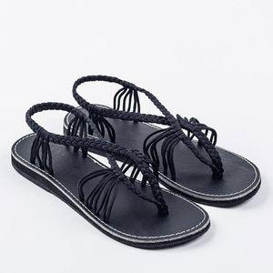 حار بيع أوروبا أسفل أحذية عقدة الصنادل أنثى تجارة الجملة بقعة الروماني الصنادل لجر الحجم