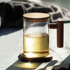 Стеклянная Чашка Чая С Крышкой Прозрачная Чашка Чая С Деревянной Ручкой Разделение Чая Хороший Чайник