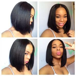 13 * 4 avant de lacet de cheveux humains Bob perruques pour les femmes look naturel noir / brun perruques courtes brésilienne droite remy cheveux perruque émoussée