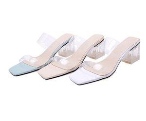 Оптовые прозрачные тапочки лето открытым носком обувь Мода женщина Слайды квадратные каблуки Jelly Женские сандалии Mule Обувь Zapatos De Muje