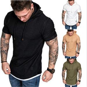 Magliette casual a maniche corte con cappuccio a manica corta con cappuccio slim fit da uomo alla moda