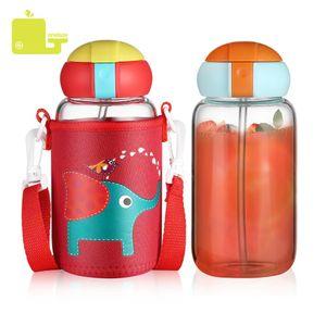 Oneisall Children Glass Water Bottle BPA Free Plastic Straw Cartoon Cute Kids Water Kettle Portable Sports Bottle Eco-friendly