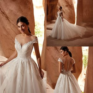Glitter A-line Wedding Dresses Sexy Jewel Sleeveless Appliqued Lace Sequins Bridal Gowns Illusion Sweep Train Robes De Mariée Custom Made