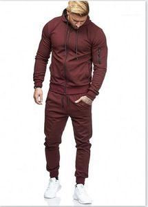 ملابس رياضية مساحة للأزياء بالألوان الصلبة بدلة الركض بالسحاب ذبابة رشيقة ملابس الرجال المصممون العرضيون