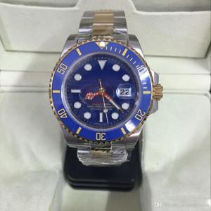 Fábrica al por mayor nuevo reloj hombres zafiro cerámica bisel azul automático plata 18 K oro Inoxidable corchete original para hombre relojes