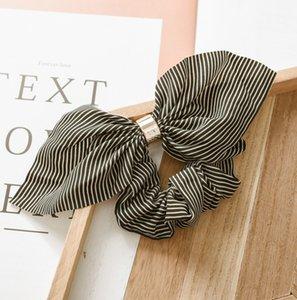 Mignon solide Couleur bonbons Corde cheveux Femmes Foulard rayé Bandeaux élastiques Imprimer oreille de lapin ruban Ties Accessoires cheveux