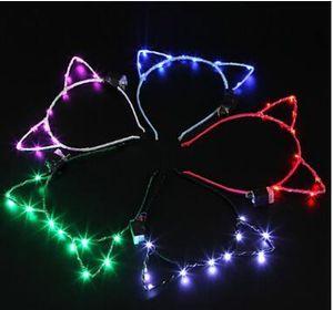 2019 고양이 귀 디자인 LED 빛 머리띠 생일 웨딩 파티 가장 무도회 장식 사랑스러운 헤어 후프 액세서리 작은 색상 5yk cc
