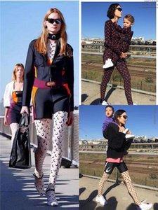 2020 Мода лето Streetwear карандаш брюки Женщина Blingbling Блестящей высокая талия Stretch Ice Шелковой Печать Луна рейтузы Sweatpants
