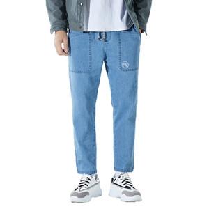 Мужские джинсы Мода Повседневная Джинсовые брюки китайский печати ретро Эластичный пояс Широкий ноги брюки Свободные прямые черные Blue M-3XL