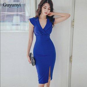 Azul Office Lady Vestido 2020 elegante da festa apertado Verão cintura alta plissada mangas Simples Ocupação Temperamento Vestido Mulheres
