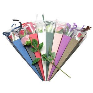 واحدة زهرة روز صندوق PVC الثلاثي صندوق باقة التفاف ورقة ورقة أكياس بلاستيكية صناديق حالات للزهور الهدايا والتغليف
