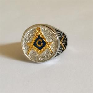 Cheap18k нержавеющая сталь Blue Lodge масонские регалии перстень мужской масон площадь компас драгоценный камень 24k золото Silvr Братство кольца ювелирные изделия